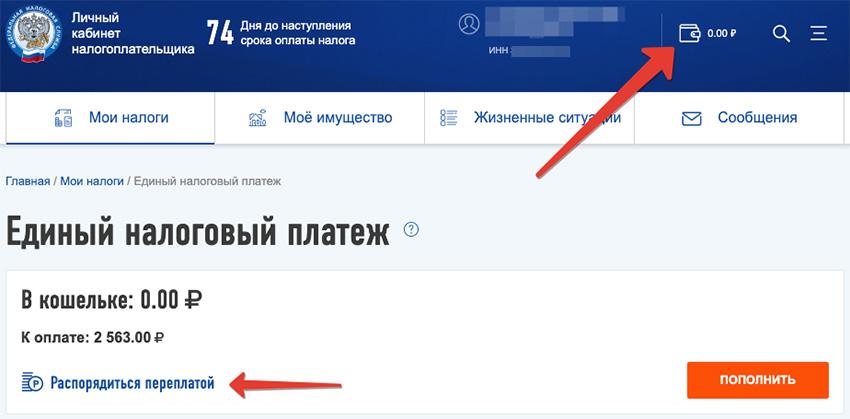 оплата задолженности через ЛК ФЛ
